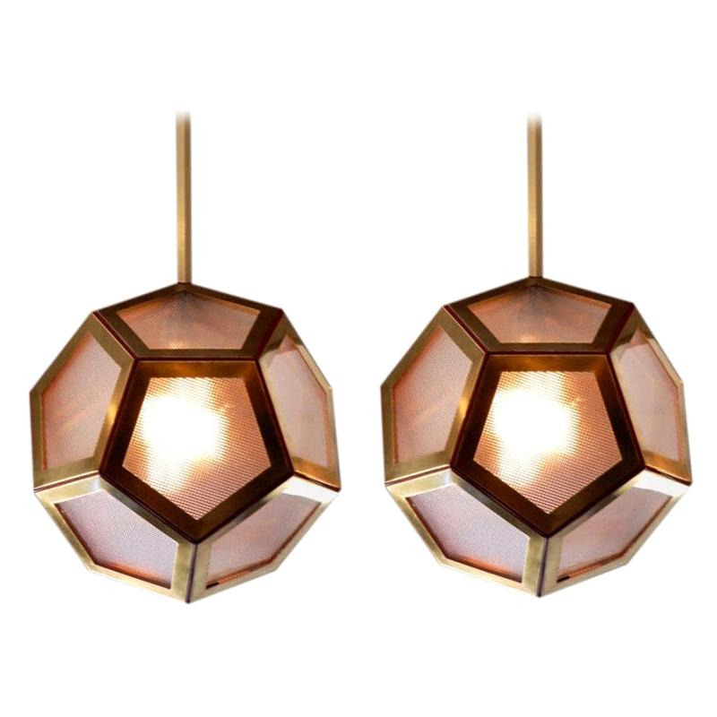 Pair of Brass, Leather and Glass Geometric 'Pentagone' Lanterns by Design Frères