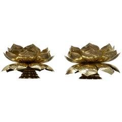 Pair of Brass Lotus Flower Candleholders by Feldman, 1960s