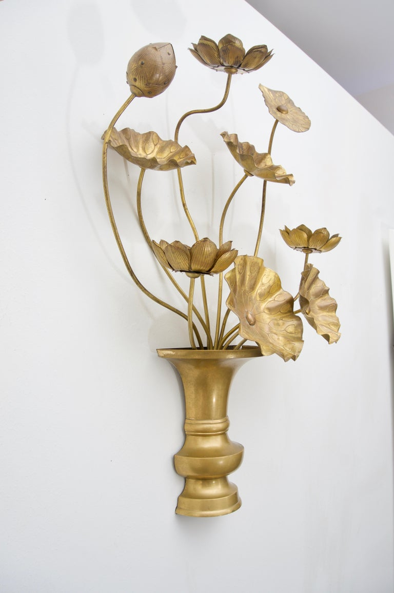 Pair of Brass Lotus Flower Wall Sconces at 1stdibs on Wall Sconces That Hold Flowers id=55707