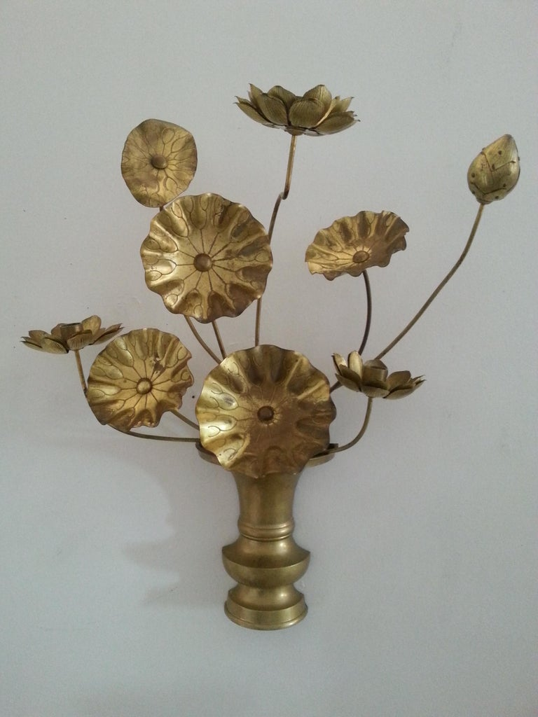 Pair of Brass Lotus Flower Wall Sconces at 1stdibs on Wall Sconces That Hold Flowers id=37215