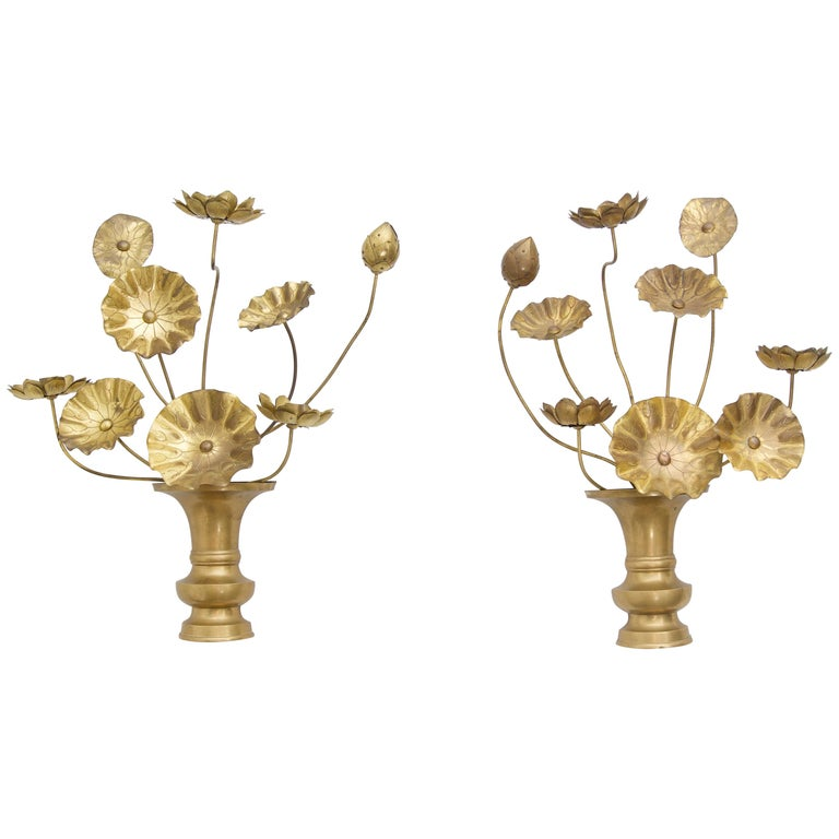 Pair of Brass Lotus Flower Wall Sconces at 1stdibs on Wall Sconces That Hold Flowers id=57268