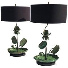 Pair of Brass Lotus Lamps in Verdigris Patina