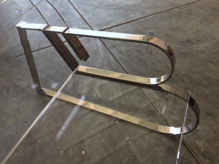 Polished Pair of Brass & Lucite