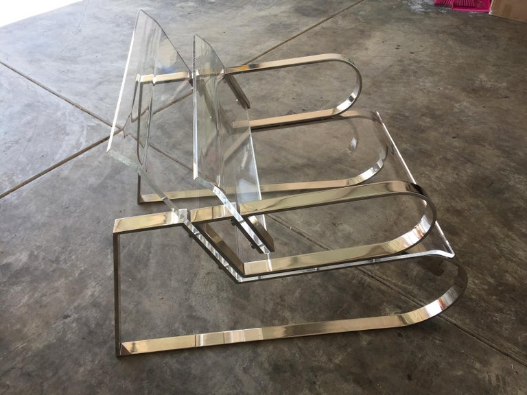 Contemporary Pair of Brass & Lucite
