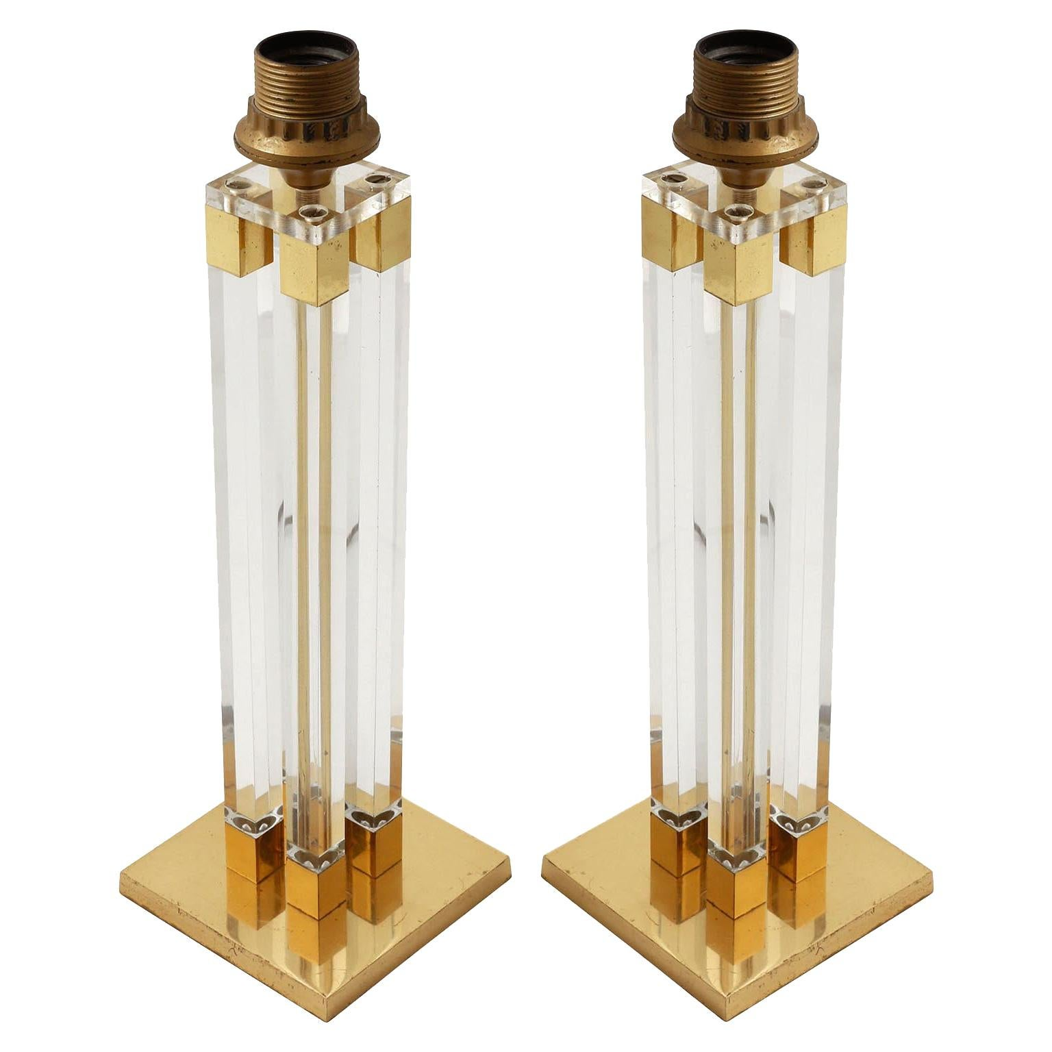 Pair of Brass Lucite Table Lamps, 1970s