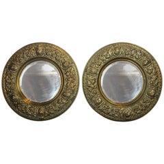 Pair of Brass Medieval Style Mirror