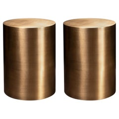 Pair of Brass Metal Cylindrical Side Tables