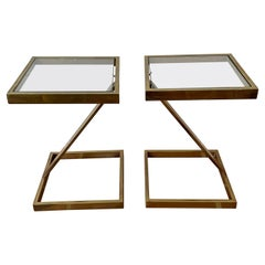 Pair of Brass Milo Baughman Z Side Tables
