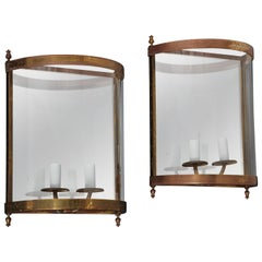 Pair of Brass Mirror and Glass Neoclassical Sconces, France, 1960s