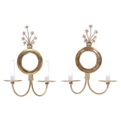 Pair of Brass & Mirrored Wall Sconces with Stars