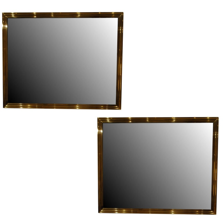 Pair of Brass Mirrors For Sale