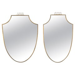 Pair of Brass Mirrors, Midcentury, Italy