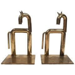 Pair of Brass Modernist Horse Bookends Designed By Walter von Nessen, circa 1931