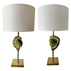 Pair of Brass Murano Glass Lamps by Esperia, Italy, 1990s