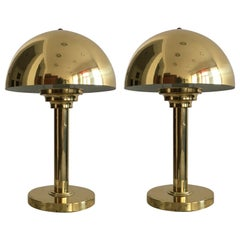 Pair of Brass Mushroom Table Lamps, Austria, 1970s