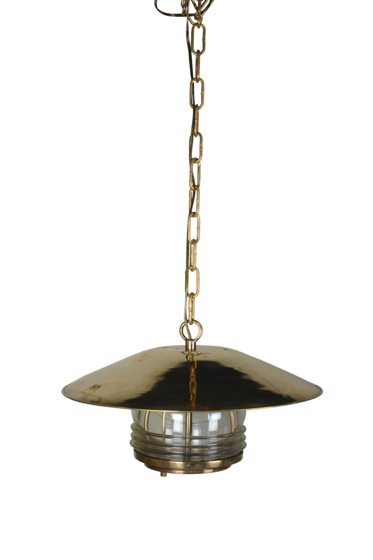Industrial Pair of Brass Nautical Ship Pendant Lights with Fresnel Lens, circa 1970 For Sale