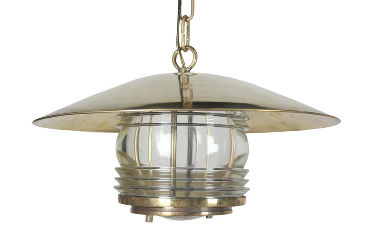European Pair of Brass Nautical Ship Pendant Lights with Fresnel Lens, circa 1970 For Sale