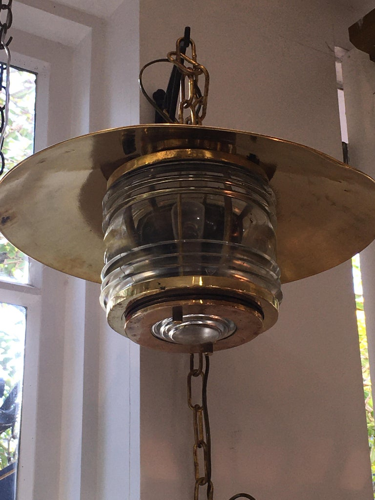 Pair of Brass Nautical Ship Pendant Lights with Fresnel Lens, circa 1970 In Good Condition For Sale In Nantucket, MA