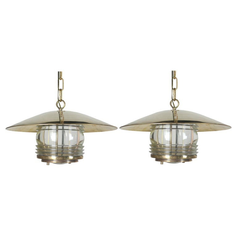 Pair of Brass Nautical Ship Pendant Lights with Fresnel Lens, circa 1970 For Sale