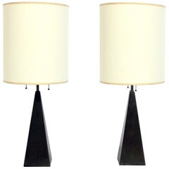 Pair of Brass Obelisk Lamps