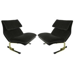 Pair of Brass Onda Lounge Chairs by Saporiti Italia