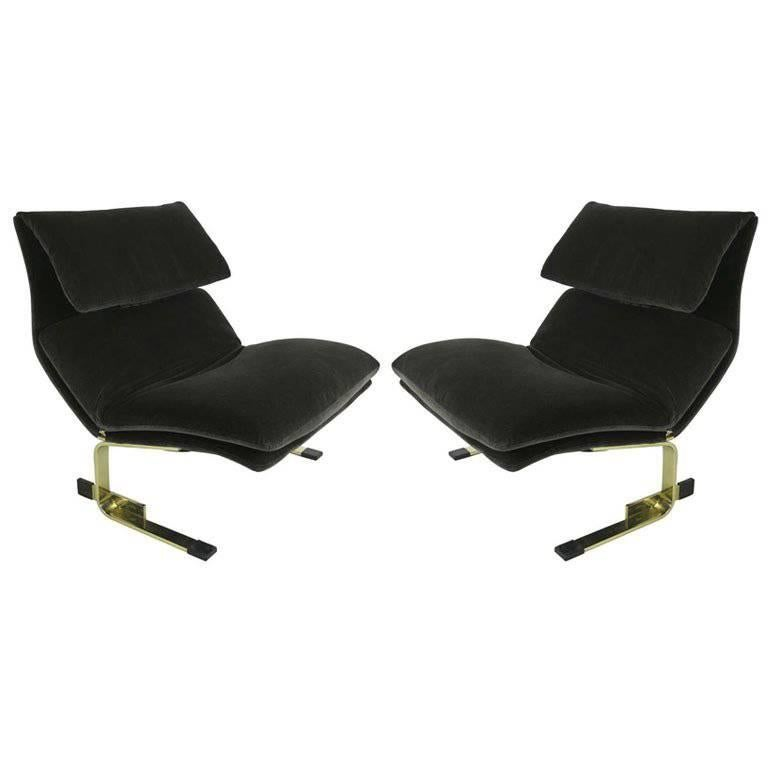 Pair of Brass Onda Lounge Chairs by Saporiti Italia For Sale