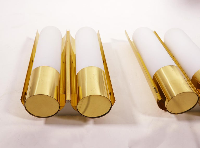 Mid-Century Modern Pair of Glashutte Limburg Wall Sconces Brass & Opaline Glass, Germany, 1970s For Sale