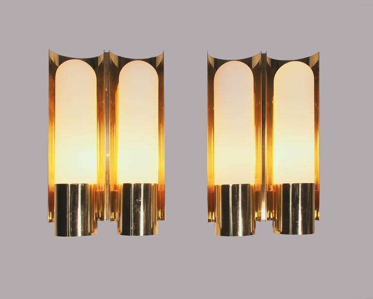 Pair of Glashutte Limburg Wall Sconces Brass & Opaline Glass, Germany, 1970s For Sale 1