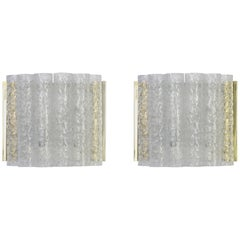 Pair of Brass or Ice Glass Wall Sconces by Doria, Germany, 1960s