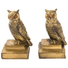 Pair of Brass Owl Book Ends