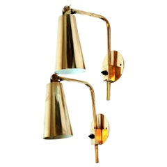Pair of Brass Paavo Tynell Wall Lights, Hotel Vaakuna, Finland, 1950s