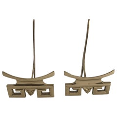 Pair of Brass Pagoda Decorative Plate Stands
