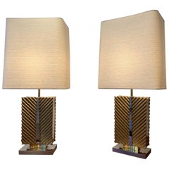 Pair of Brass Palm Leaf & Chrome Table Lamps by Maison Baguès, France, ca. 1970