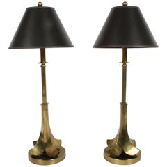 Pair of Brass Palm Leaf Lamps in the Style of Maison Charles, circa 1970s