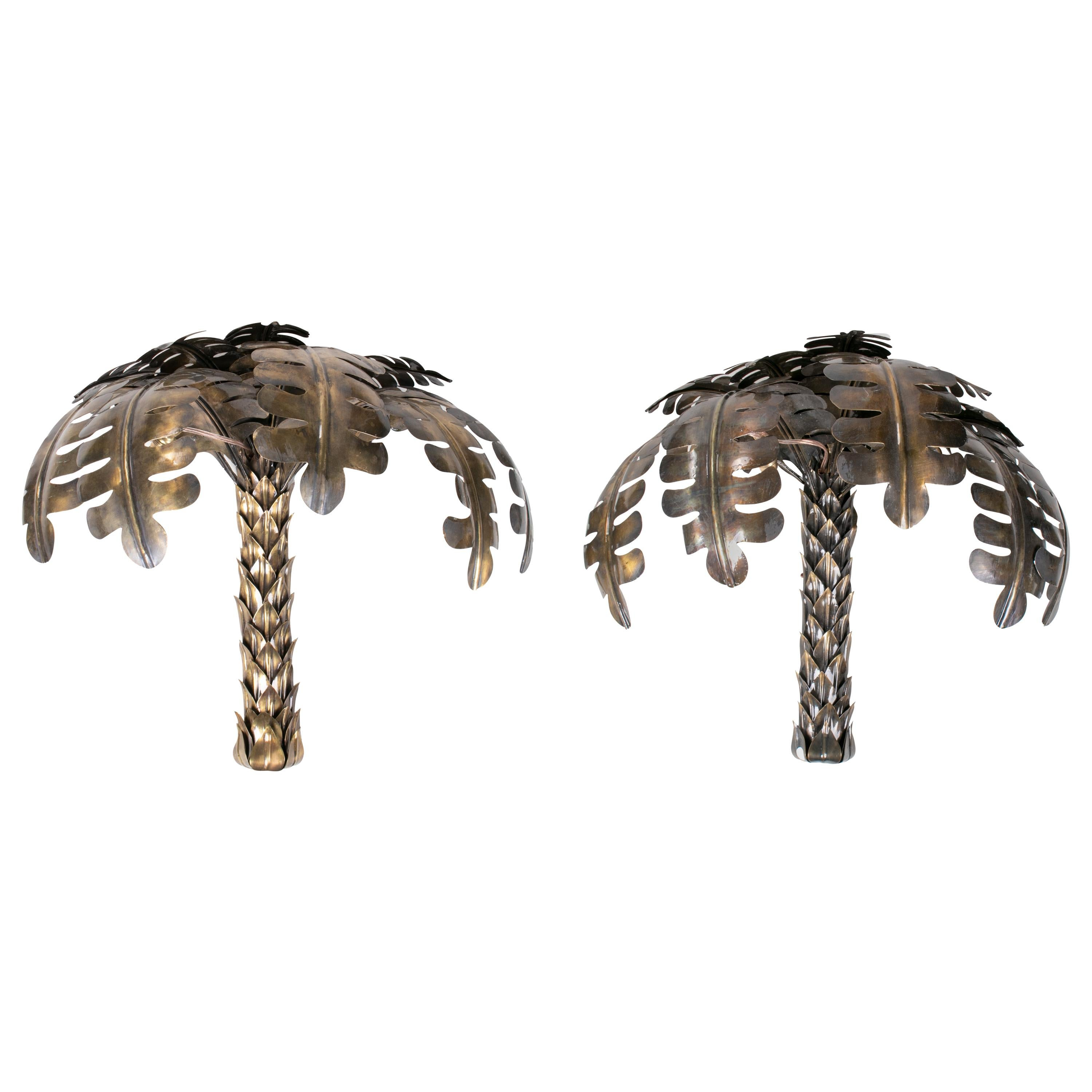 Pair of Brass Palm Trees, Shaped Wall Lights