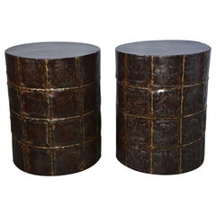 Pair of Brass Patchwork-Like Garden Seats or Side Tables, Sold Singly