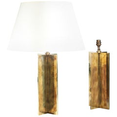 Pair of Brass Patinated X Form Lamps