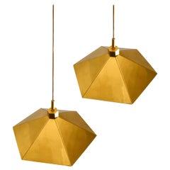 Pair of Brass Pendant Lamps in Umbrella Shape, Belgium 1970s