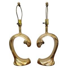 Pair of Brass Pierre Cardin Wave Lamps
