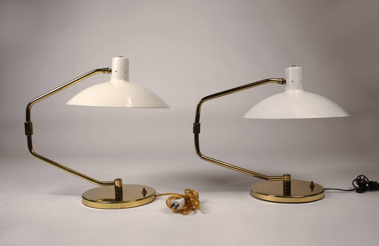 Pair of Brass Pivoting Table Lamps designed by Clay Michie for Knoll For Sale 4