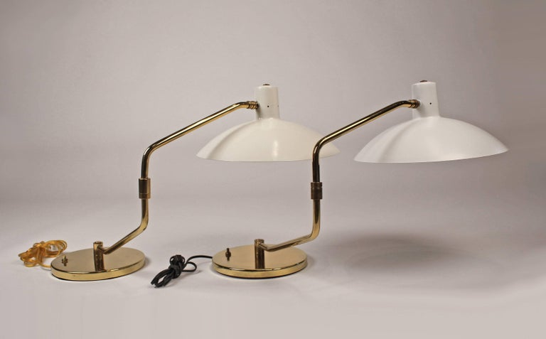 Pair of Brass Pivoting Table Lamps designed by Clay Michie for Knoll For Sale 2