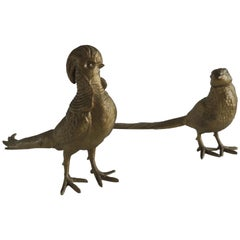 Pair of Brass-Plated Standing Male and Female Pheasants