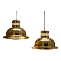 "Pair of Brass Plated Vintage IKEA Pendant Lights ""Tyfon"", Sweden 1970s"