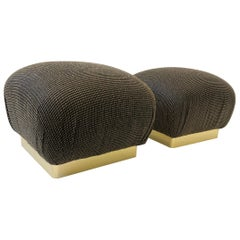 Pair of Brass Poufs Ottomans by Steve Chase