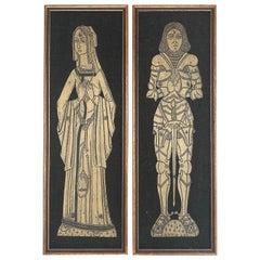 Pair of Brass Rubbings Art of 16th-17th Century Figures on Burlap