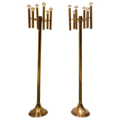 Pair of Brass Sciolari Floor Lamps, 1970s
