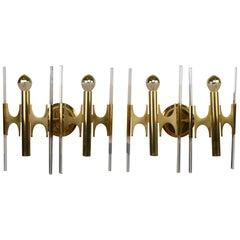 Pair of Brass Sciolari Scones with Murano Glass Rods, Mid-Century Modern, 1960s