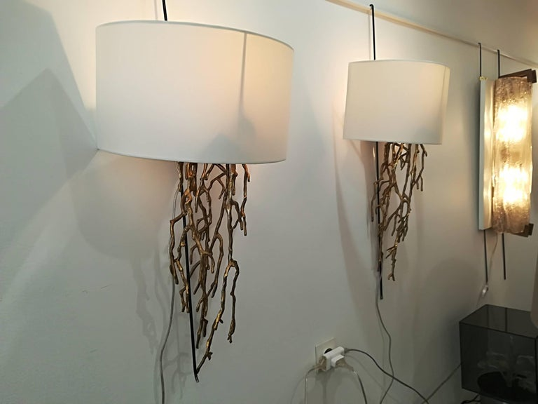 Modern Pair of Brass Sconces Coral Model For Sale