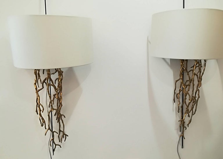 Pair of Brass Sconces Coral Model In Excellent Condition For Sale In Saint-Ouen, FR