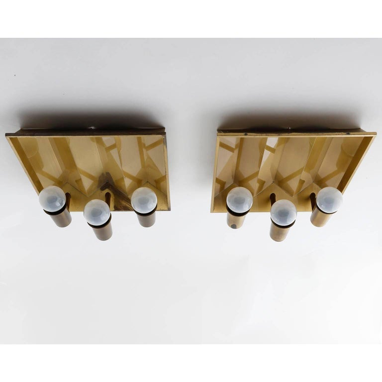 Danish Pair of Brass Sconces Wall Lights by Fog & Morup, Denmark, 1960 For Sale